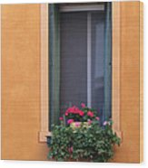 Geraniums In A Yellow Window In Treviso Italy Wood Print