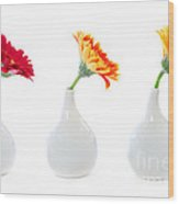 Gerbera Flowers In Vases Wood Print