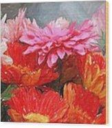 Gerberas In Pastels Wood Print