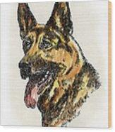 German-shepherd-portrait Wood Print