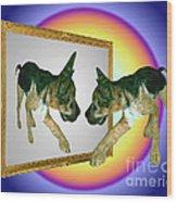 German Shepherd Puppy In Mirror Wood Print