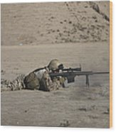 German Soldier Firing A Barrett M82a1 Wood Print