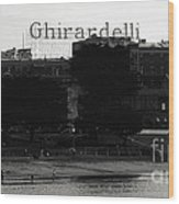 Ghirardelli Square In Black And White Wood Print by Linda Woods