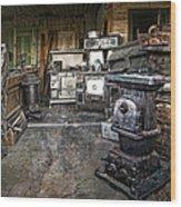 Ghost Town Stove Storage - Montana State Wood Print