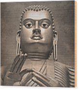 Giant Gold Buddha Vintage Wood Print by Jane Rix