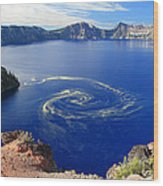 Giant Swirl Of Pollen At Crater Lake National Park  Wood Print