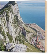 Gibraltar Rock And Mediterranean Sea Wood Print