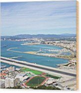 Gibraltar Runway And La Linea Cityscape Wood Print