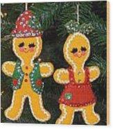 Gingerbread Couple Wood Print