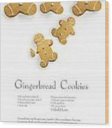Gingerbread Men Cookies Against Cookie Receipe Wood Print by Sandra Cunningham