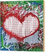 Gingham Crazy Heart Wood Print