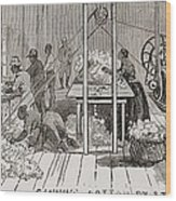 Ginning Cotton By Steam Powered Gin Wood Print