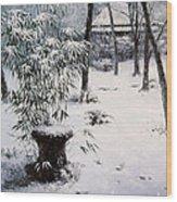 Gioji Temple In Snowing Wood Print