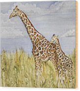 Giraffe And Calf Wood Print