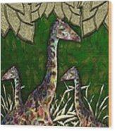 Giraffes In A Golden Forest Wood Print