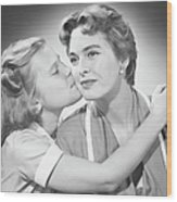 Girl (8-9) Kissing Mother, (b&w) Wood Print by George Marks