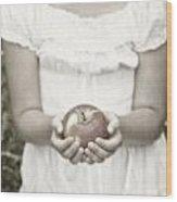 Girl And Apple Wood Print