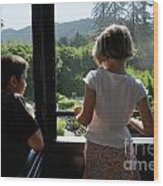 Girl And Boy Looking Out Of Train Window Wood Print
