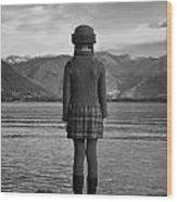 Girl At A Lake Wood Print