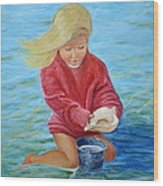 Girl At Beach #2 Wood Print