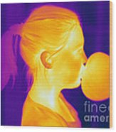 Girl Blowing A Bubble Wood Print