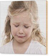 Girl Crying Wood Print