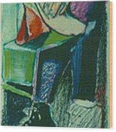 Girl In A Restaurant Wood Print
