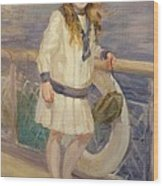 Girl In A Sailor Suit Wood Print