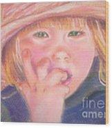 Girl In Straw Hat Wood Print by Julie Brugh Riffey