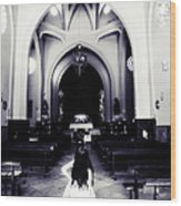 Girl In The Church Wood Print