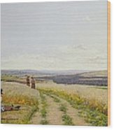 Girl In The Fields   Wood Print