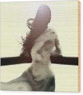 Girl In White Dress Wood Print