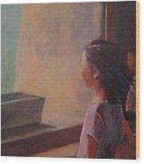 Girl In Window Wood Print