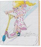 Girl On A Microscooter Cartoon Wood Print