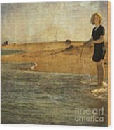 Girl On A Shore Wood Print