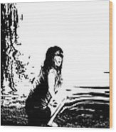Girl On The Edge Of The Water Wood Print