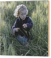 Girl Running In Wheat Field Wood Print by Sami Sarkis
