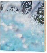 Girl Splashing Water In Swimming Pool Wood Print
