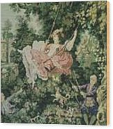 Girl Swinging Tapestry Wood Print