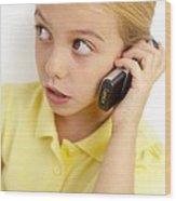 Girl Using Mobile Phone Wood Print by Ian Boddy