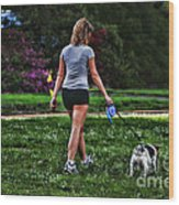 Girl Walking Dog Wood Print by Paul Ward