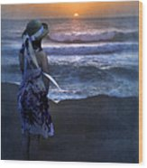 Girl Watching The Sun Go Down At The Ocean Wood Print