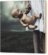 Girl With A Baby Doll Wood Print