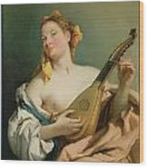 Girl With A Mandolin Wood Print