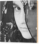 Girl With A Rose Veil 3 Bw Wood Print