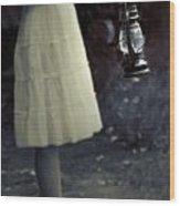 Girl With An Oil Lamp Wood Print by Joana Kruse