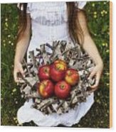 Girl With Apples Wood Print