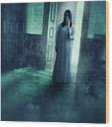 Girl With Candle In Doorway Wood Print by Jill Battaglia
