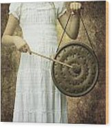 Girl With Gong Wood Print