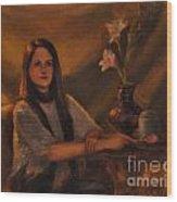 Girl With Lilies Wood Print